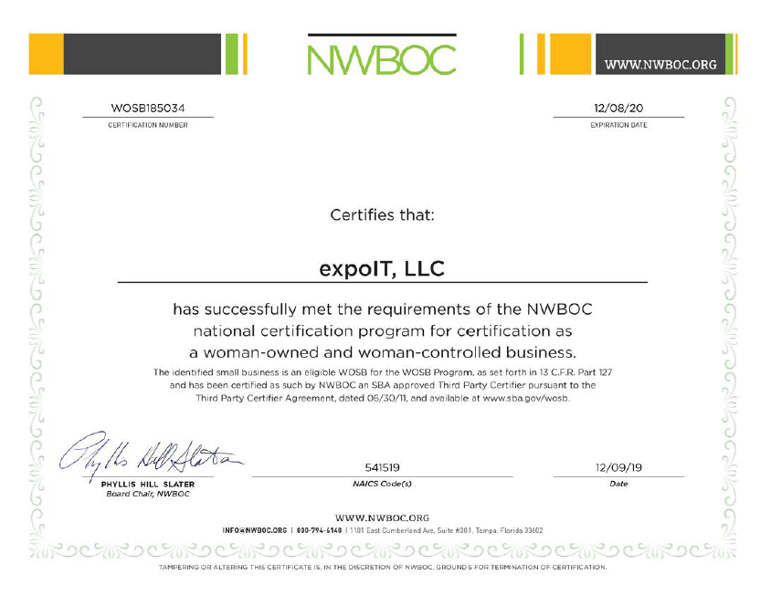 Image of: expoIT has officially been recognized by the NWBOC, National Women Business Owners Corporation, as a woman-owned and woman-controlled business!